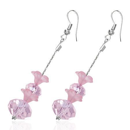 Cercei fantezie lungi cu floricele roz 0