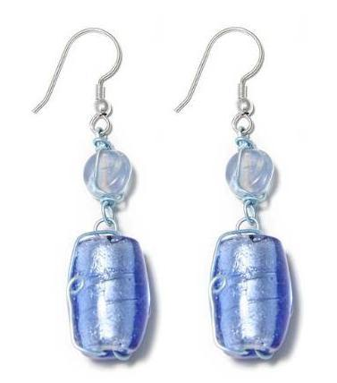 Cercei lungi eleganti cu pietre albastre decorati manual 0