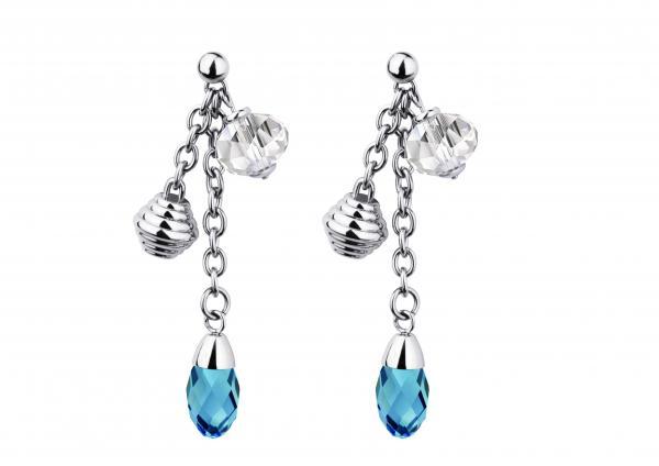 Cercei otel inox cu cristale albe si bleu 0