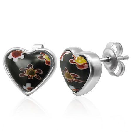 Cercei otel inox cu inimioare din sticla de Murano 0