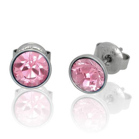 Cercei otel inox cu pietre roz 0
