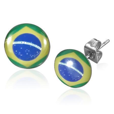 Cercei otel inox cu steagul Braziliei 0