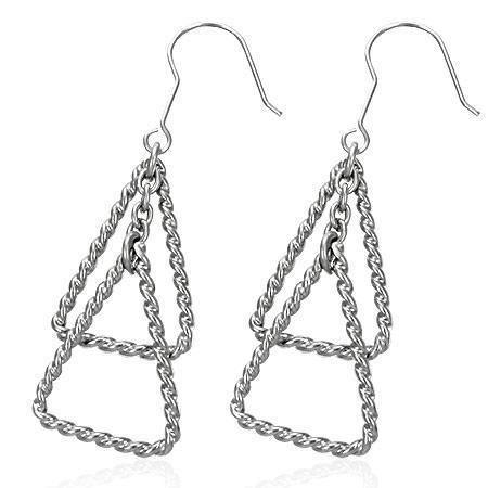 Cercei otel inox cu triunghiuri 0