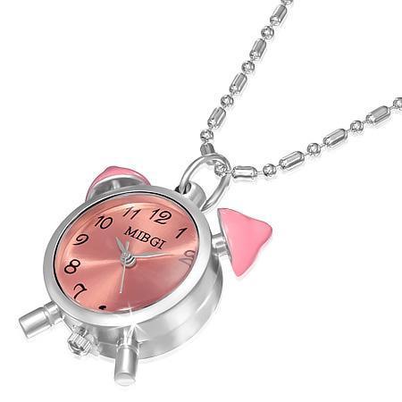 Colier cu ceas roz si lantisor argintiu 0
