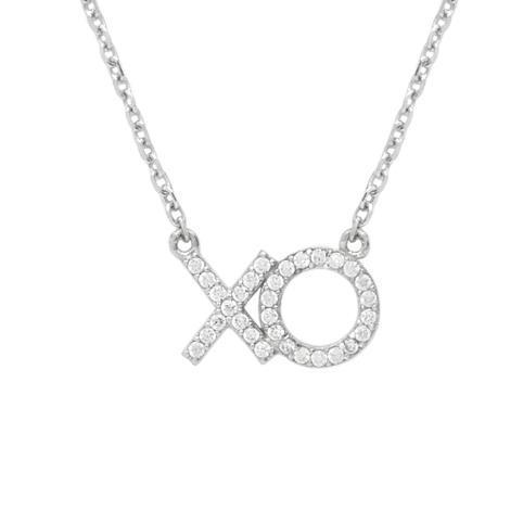 Colier cu X si 0 din argint 925 rodiat cu zirconii [1]