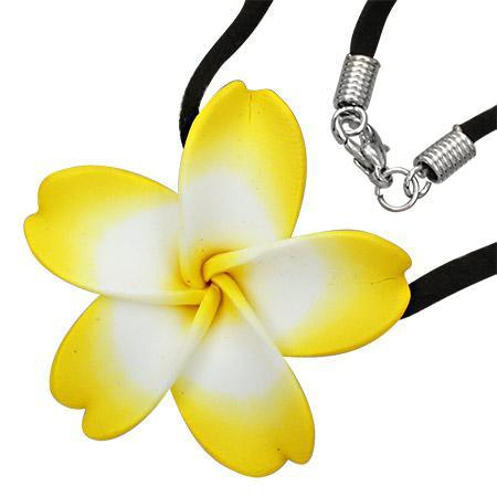 Colier cu floare plumeria si snur negru 0