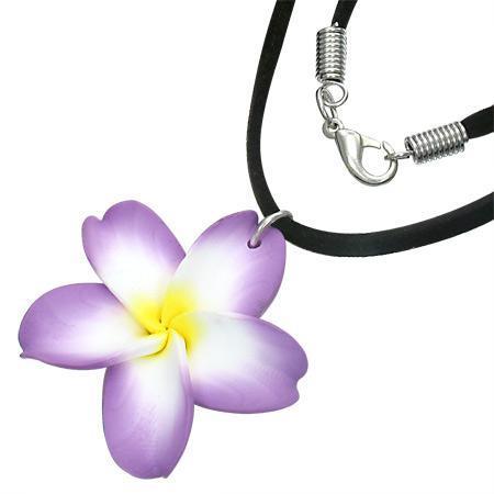 Colier cu floare plumeria si snur negru [0]