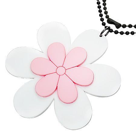 Colier cu floricele albe si roz si lant militar negru 73 cm 0