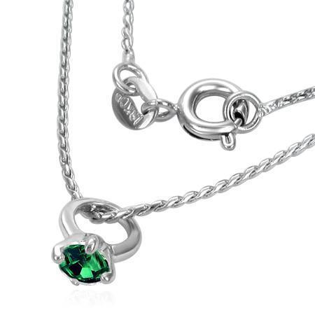 Colier cu lant si pandantiv inel si zirconiu verde 0