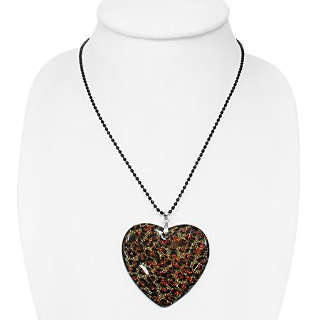 Colier cu pandantiv inimioara si lant negru 1