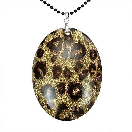 Colier cu pandantiv model leopard si lant negru 0