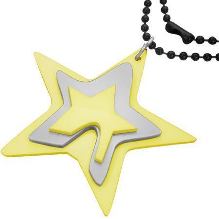 Colier cu trei stelute galbene si lant negru de 73 cm 0