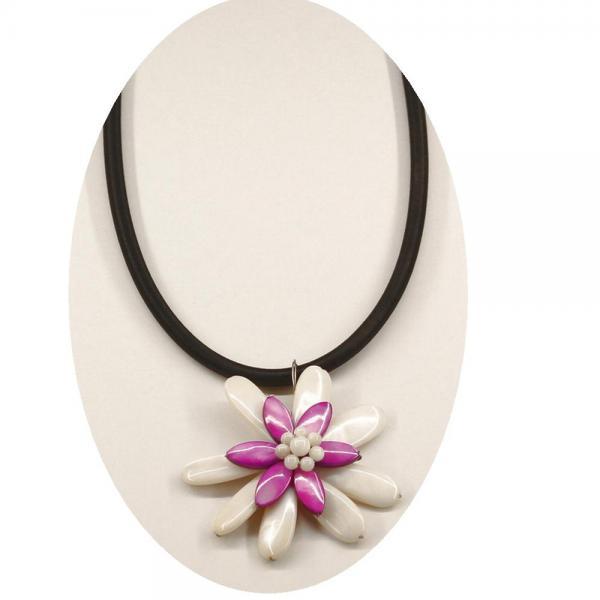 Colier elegant cu floricica nuante alb si mov 1
