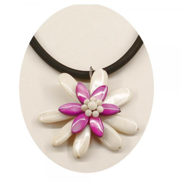 Colier elegant cu floricica nuante alb si mov 2