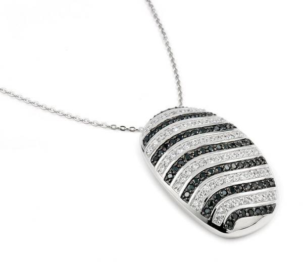 Colier elegant argint 925 rodiat cu zirconii albe si negre Be Special 0