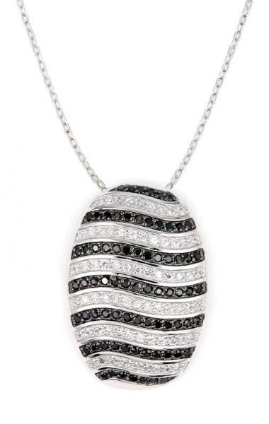 Colier elegant argint 925 rodiat cu zirconii albe si negre Be Special 1