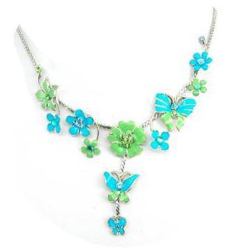 Colier fantezie cu floricele verzi si albastre 0