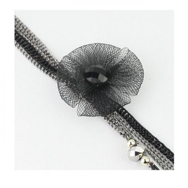Colier elegant lung, metalic, cu floare si lantisoare 1