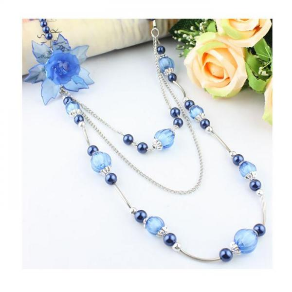 Colier fantezie cu floare albastra [0]
