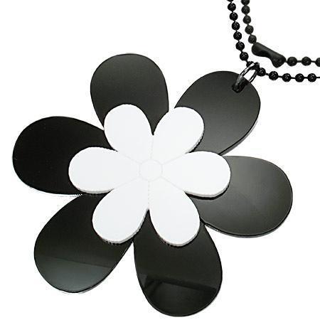 Colier cu flori albe si negre si lant militar negru 73 cm 0