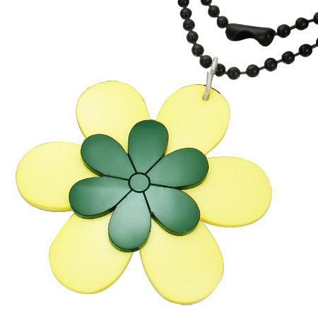 Colier cu floricele galbene si verzi si lant militar negru 73 cm 0