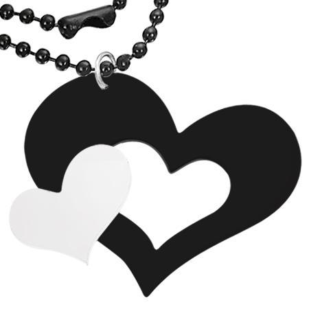 Colier cu inimioare albe si negre si lantisor negru model militar 0