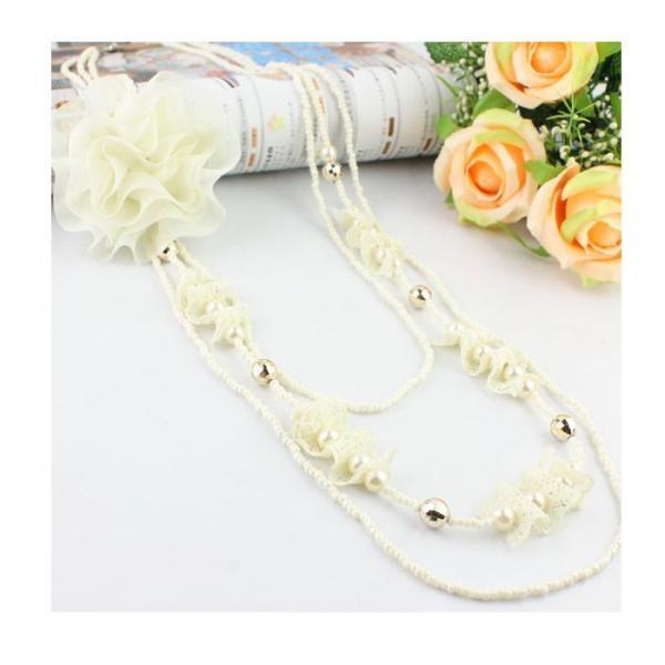 Colier fantezie cu trandafir alb [0]