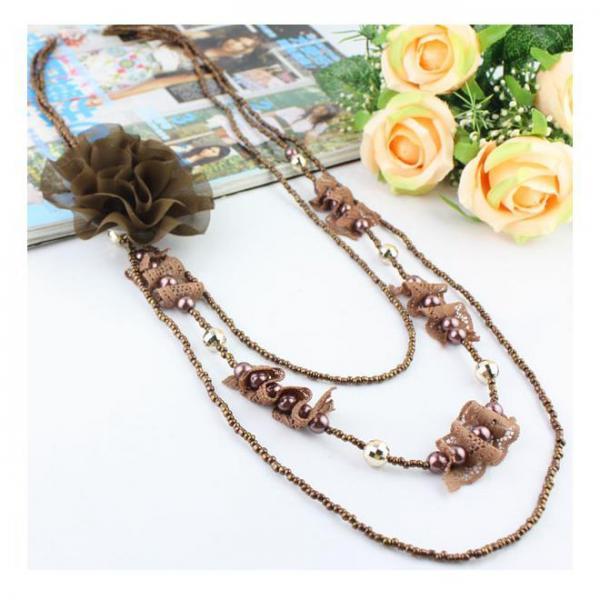 Colier fantezie cu trandafir maro 1