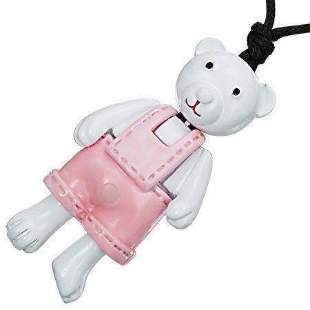 Colier cu pandantiv in forma de ursulet alb cu hainute roz 0