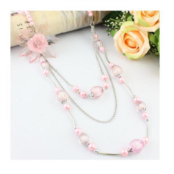 Colier fantezie roz cu floare 0