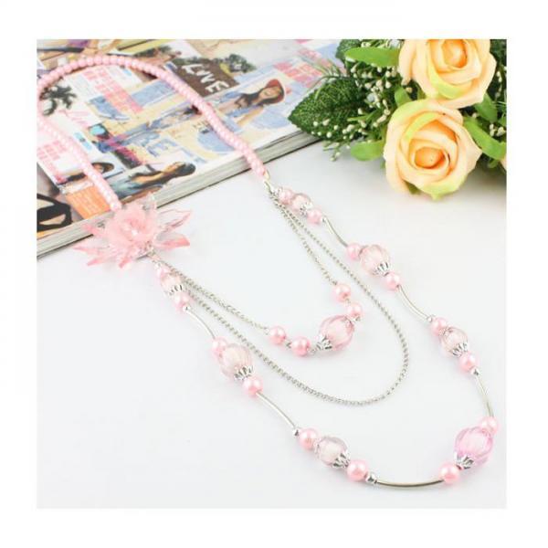 Colier fantezie roz cu floare 1