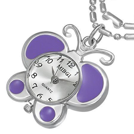 Colier fluturas cu ceas violet si lantisor argintiu 0
