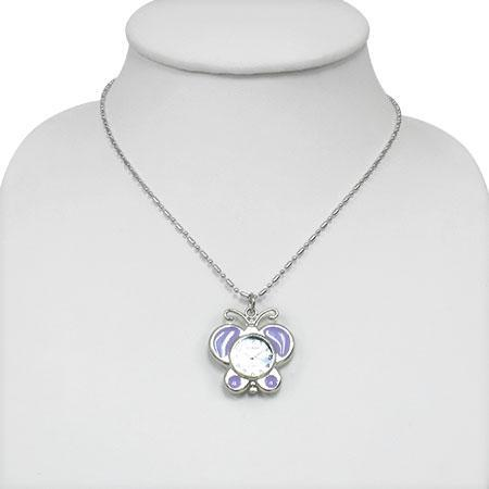 Colier fluturas cu ceas violet si lantisor argintiu 1