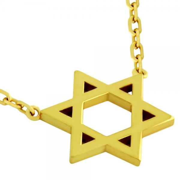 Colier steaua lui David argint 925 placat cu aur 0