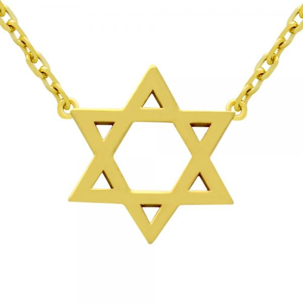 Colier steaua lui David argint 925 placat cu aur 1