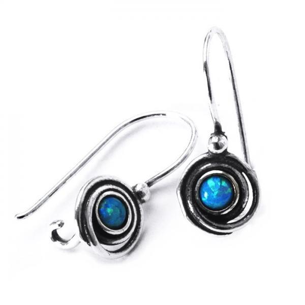 Cercei argint 925 Israel spirale cu opal imperial - Be Nature EPO0004 0
