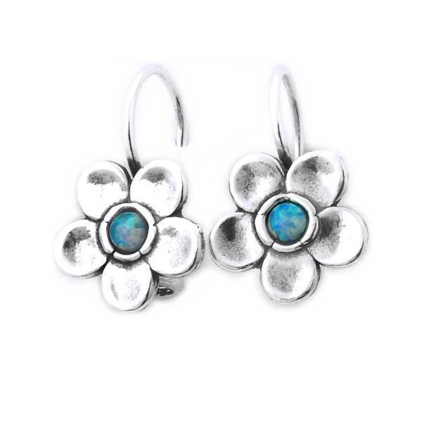 Cercei argint 925 Israel floare cu opal imperial - Be Nature EPO0014 0