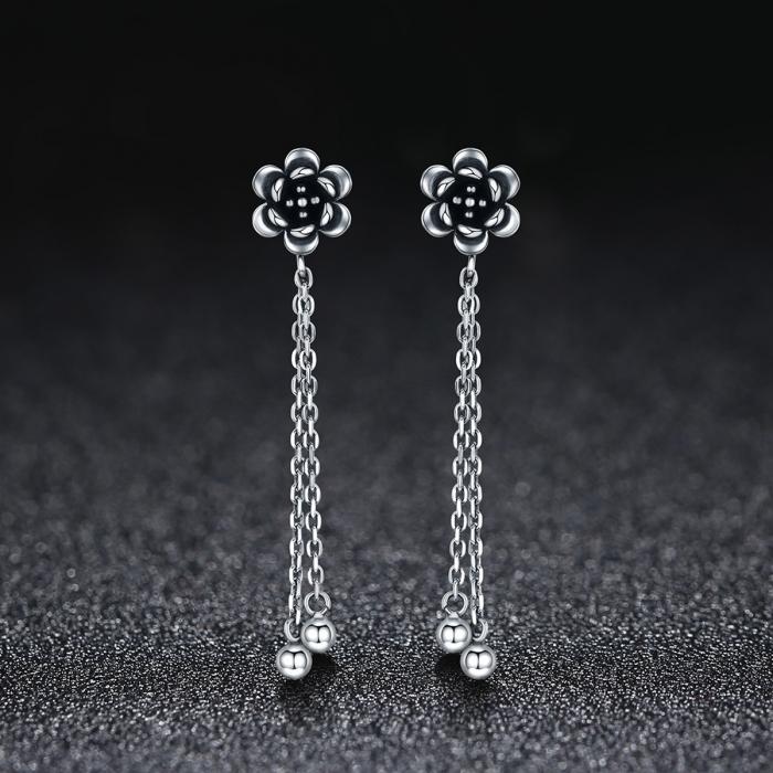 Cercei lungi din argint 925 cu floare de lotus si aspect vintage - Be Nature EST0005 1
