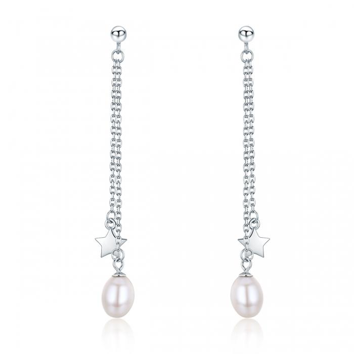 Cercei lungi din argint 925 cu perle fine, stelute si zirconii albe - Be Elegant EST0011 0