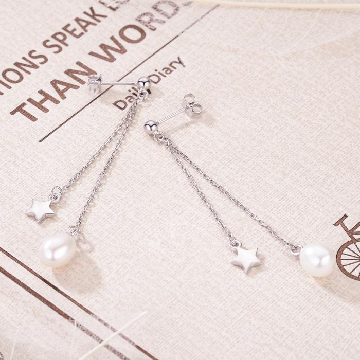 Cercei lungi din argint 925 cu perle fine, stelute si zirconii albe - Be Elegant EST0011 2
