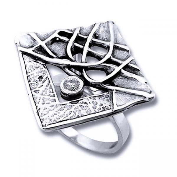 Inel argint 925 lucrat manual cu zirconiu 0