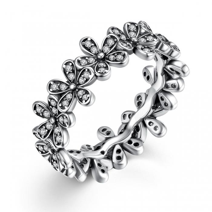 Inel placat cu argint cu floricele IST0006 0