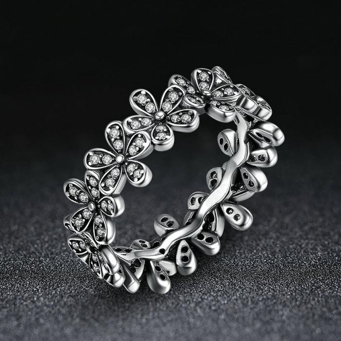 Inel placat cu argint cu floricele IST0006 1