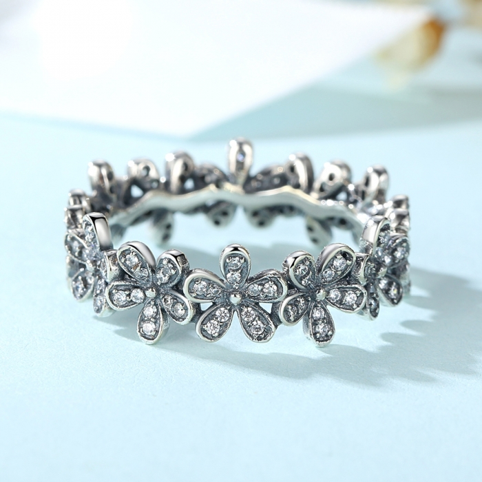 Inel placat cu argint cu floricele IST0006 2