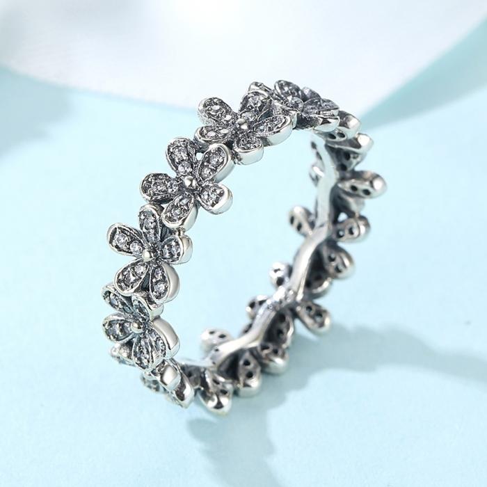 Inel placat cu argint cu floricele IST0006 3