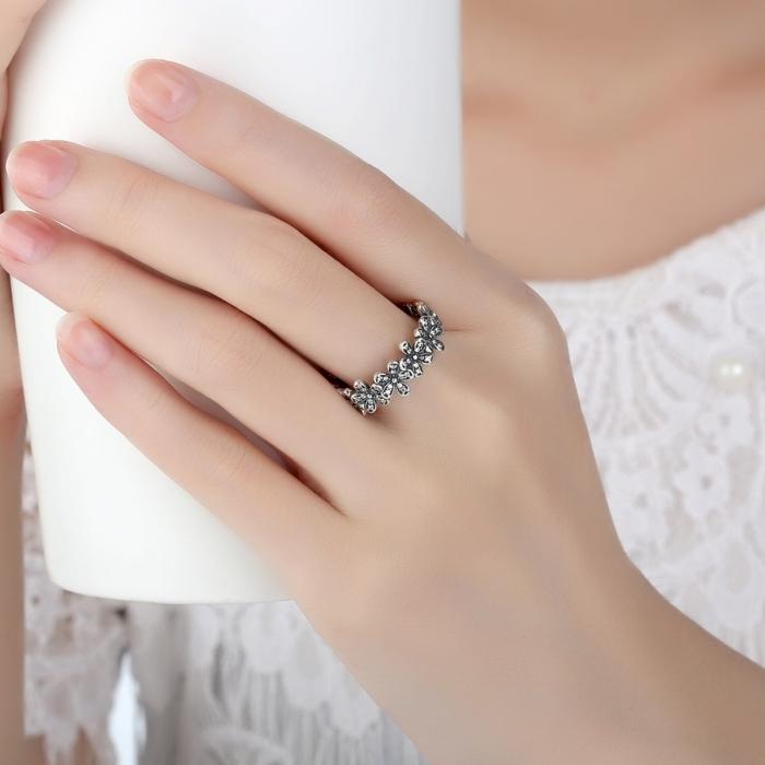Inel placat cu argint cu floricele IST0006 4