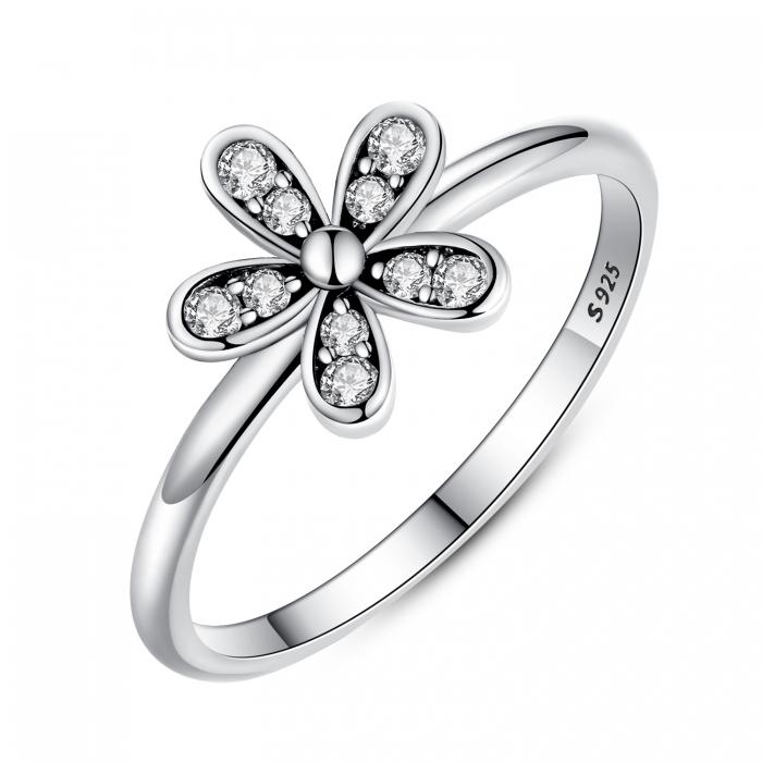 Inel argint cu floare si zirconii albe - Be Nature IST0012_173 0