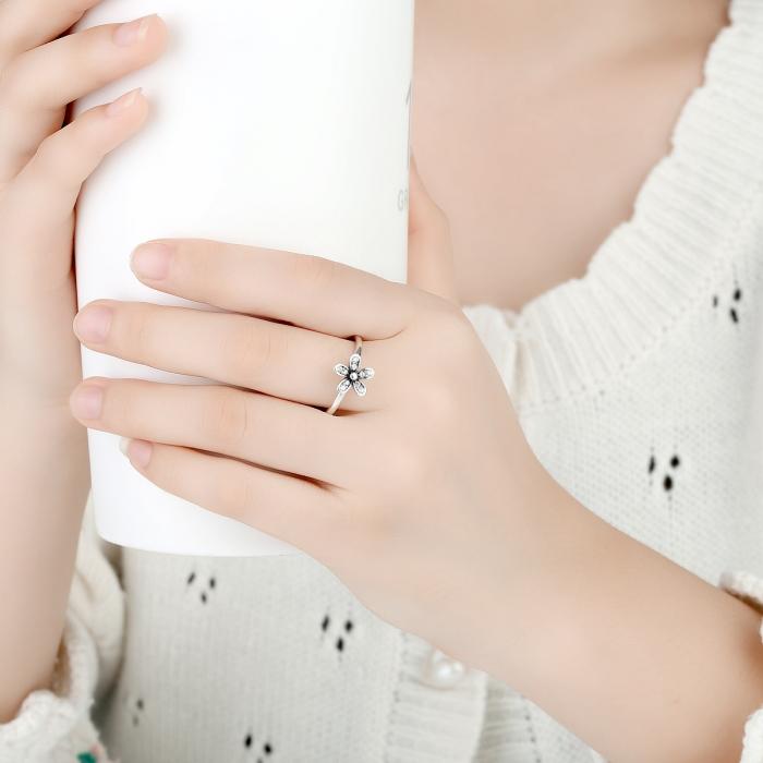 Inel argint cu floare si zirconii albe - Be Nature IST0012_173 5