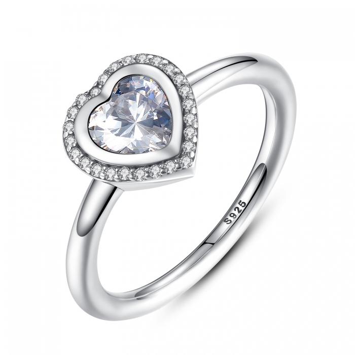 Inel argint 925 cu inimioara si zirconii albe IST0013 0