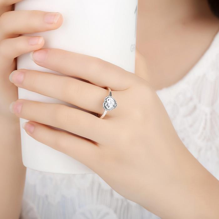Inel argint 925 cu inimioara si zirconii albe IST0013 5